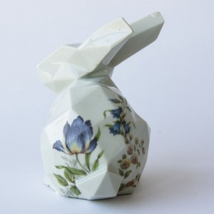 Porcelain bunny with patterned transfers
